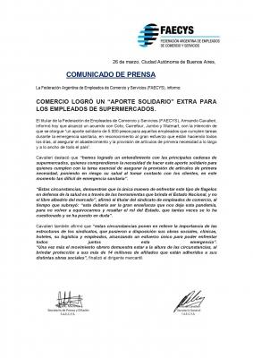 """COMERCIO LOGRÓ UN """"APORTE SOLIDARIO"""" EXTRA PARA LOS EMPLEADOS DE SUPERMERCADOS."""