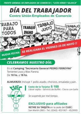 Festejo del Día del Trabajador- SE REALIZARA EL VIERNES 25 DE MAYO !!