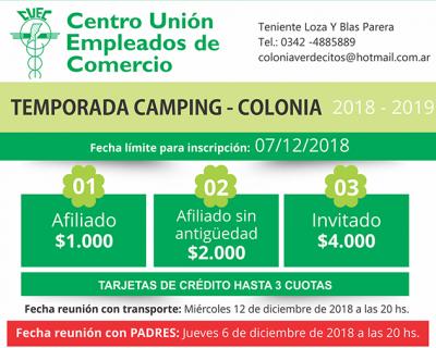 TEMPORADA CAMPING COLONIA 2018-2019