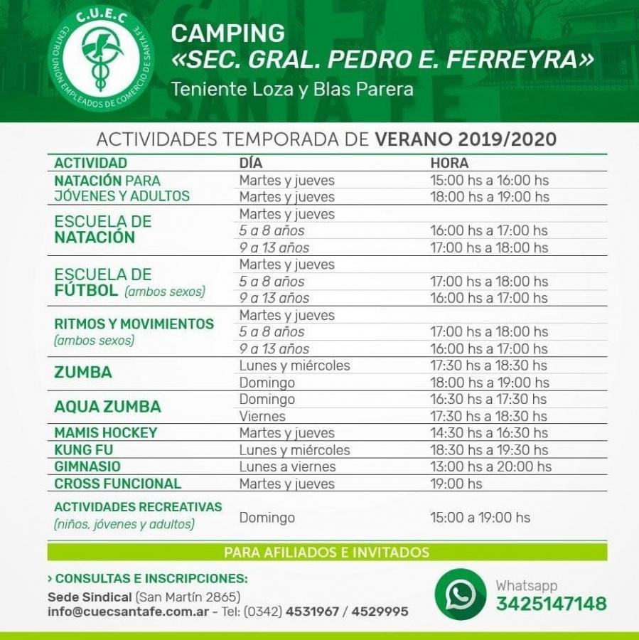 ACTIVIDADES TEMPORADA  DE VERANO Y COSTOS