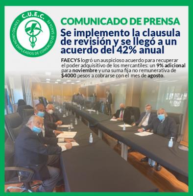 Se implemento la clausula  de revisión y se llegó a un  acuerdo del 42% anual