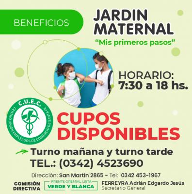 CUPOS DISPONIBLES EN EL JARDÍN MATERNAL DEL CUEC